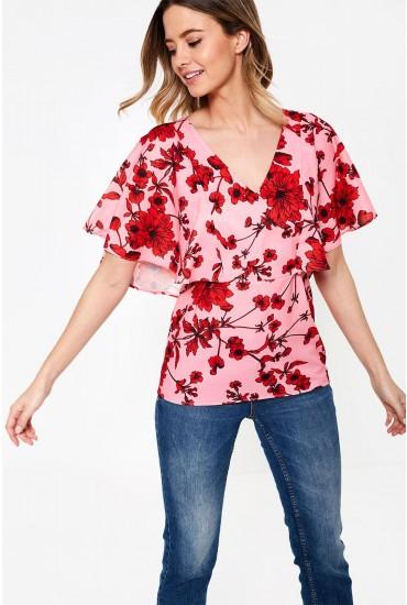 Enna Floral Print Top in Pink