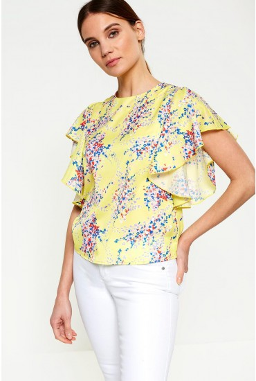 Lila Floral Print Top in Yellow