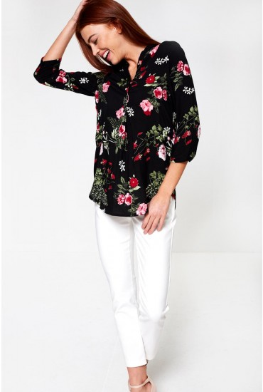Simply Floral Print Tunic Top in Black