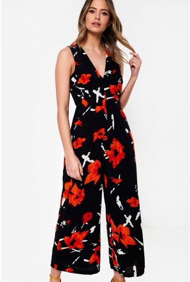 Polly Floral Print V Neck Culotte Jumpsuit in Black
