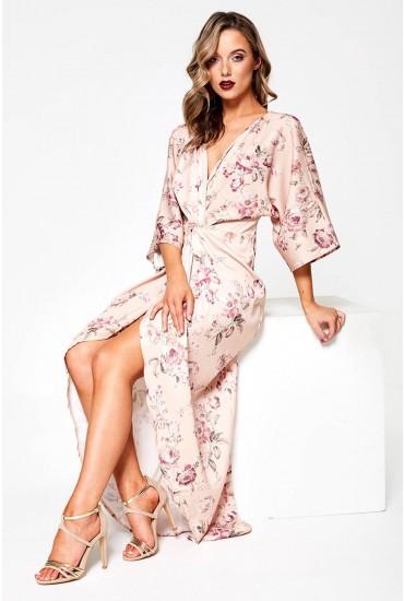 Kenza Floral Print Wrap Dress in Blush
