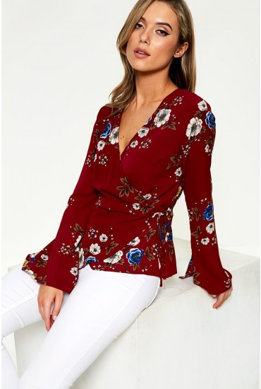 Gina Floral Print Wrap Top in Burgundy