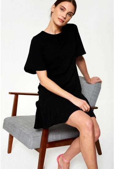 Florence Frill Hem Dress in Black