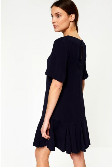 Florence Frill Hem Dress in Navy