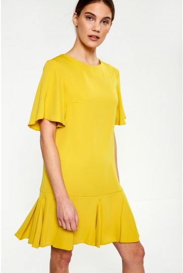 Florence Frill Hem Dress in Yellow