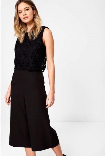 Olivia Flower Crochet Jumpsuit in Black