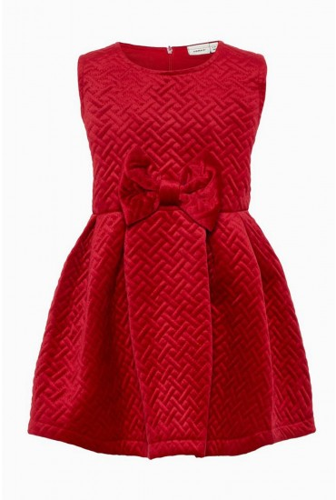 Frandice Girls Velvet Dress in Red