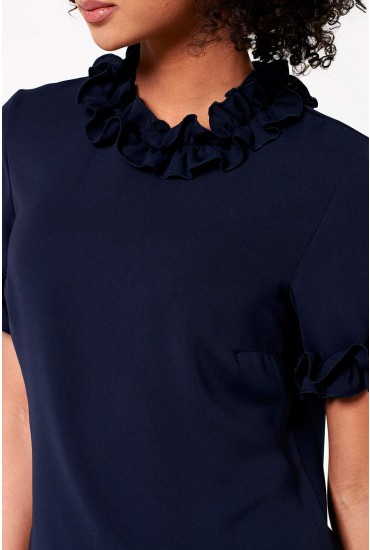 Lucy Frill Detail Top in Navy