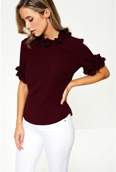 Lucy Frill Detail Top in Plum