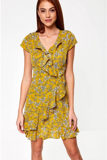 Xenia Frill Front Wrap Dress in Mustard