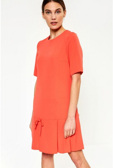 Florence Frill Hem Dress in Coral