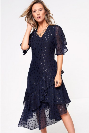 Nighta Frill Midi Dress in Navy