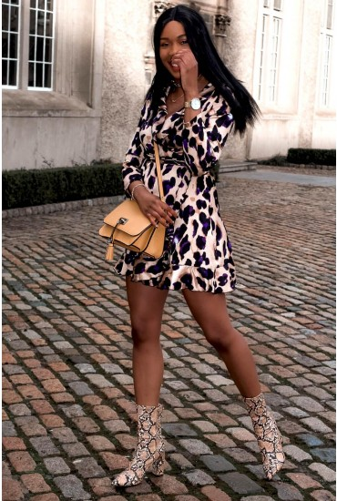 Kate Frill Wrap Dress in Purple Leopard Print