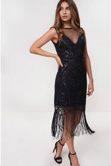 Jean Fringe and Sequin Dress in Black