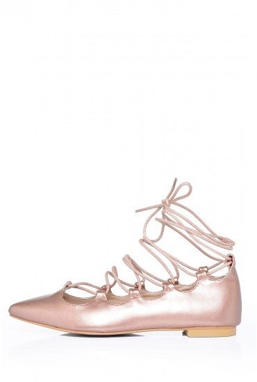 Karen Pointed Lace Up Flats in Rose Gold