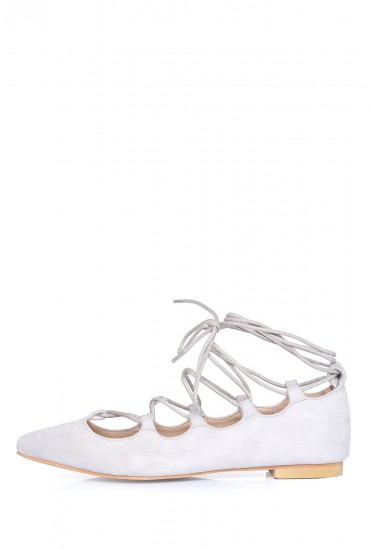 Karen Pointed Lace Up Flats in Light Stone Suede