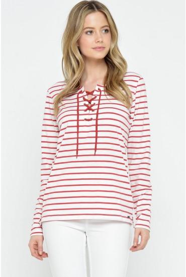 Tamara Lace Up Striped Top in Red