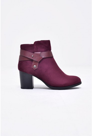 Nadin Suede Ankle Boot in Wine