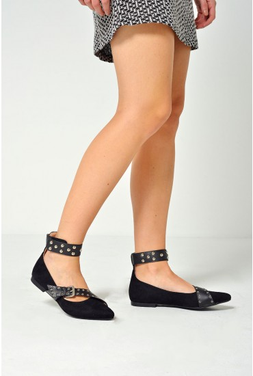 Rylee Studded Pointed Ballets in Black