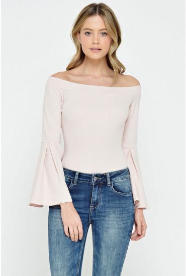 Sandy Frill Sleeve Bodysuit in Blush