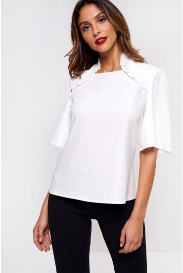 Sue Short Sleeve Top in Off White