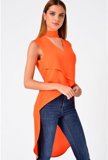 Trixy Choker Neck Deep Hem Top in Orange