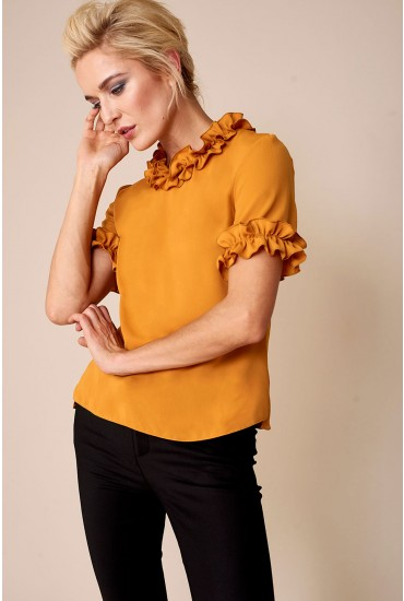 Lucy Frill Detail Top in Mustard