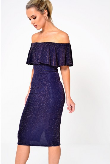 Elise Glitter Dress in Navy