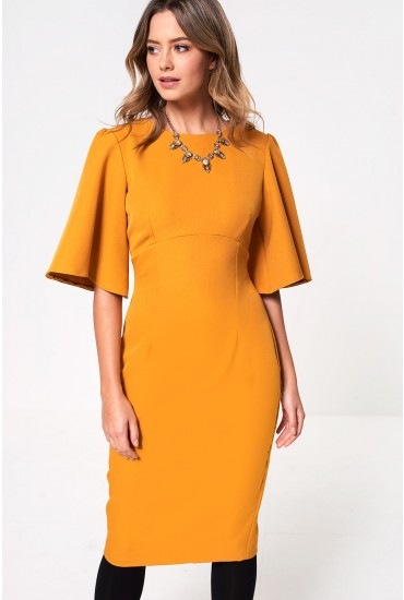 Emma Midi Dress in Mustard
