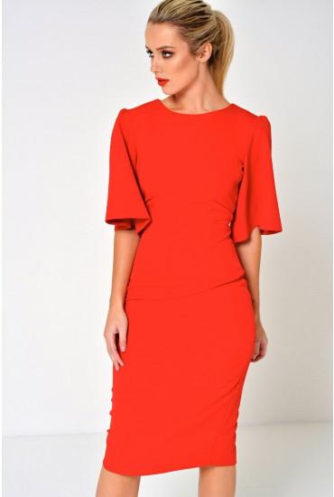 Emma Midi Dress in Red