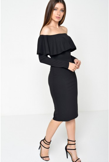 Luella Off Shoulder Long Sleeve Dress in Black