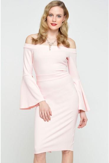 Gail Bell Sleeve Bardot Dress in Blush