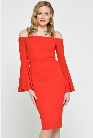 Gail Bell Sleeve Bardot Dress in Red