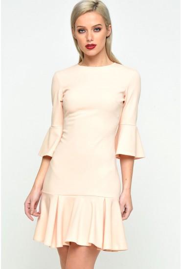 Rene Frill Hem Dress in Peach