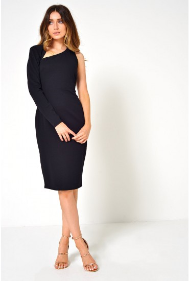 Lynn Asymmetric Dress in Black