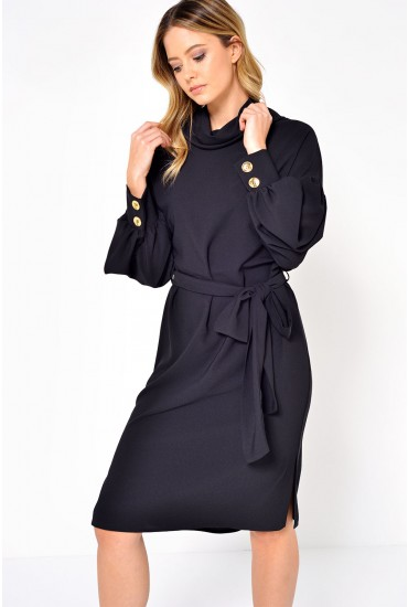 Tara Gold Button Cuff Dress