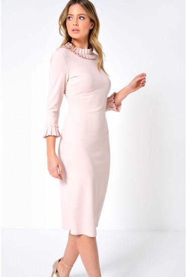 Talia Frill Collar Dress in Blush