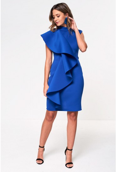 Chloe Scuba Frill Occasion Dress in Blue