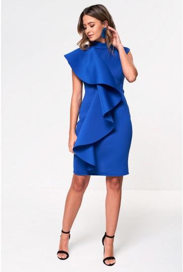Chloe Scuba Frill Occasion Dress in Blue