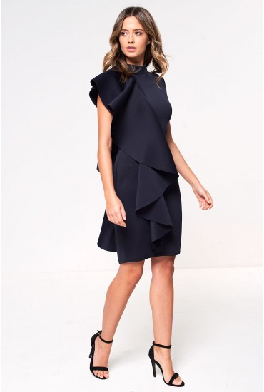 Chloe Scuba Frill Occasion Dress in Navy