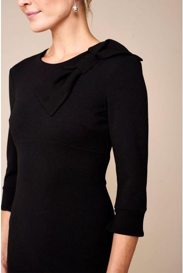 Elora Bow Detail Midi Dress in Black