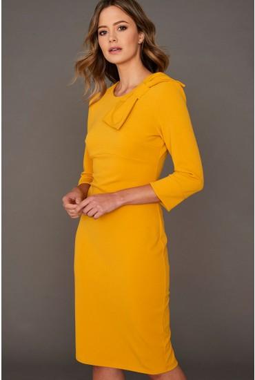 Elora Bow Detail Midi Dress in Mustard