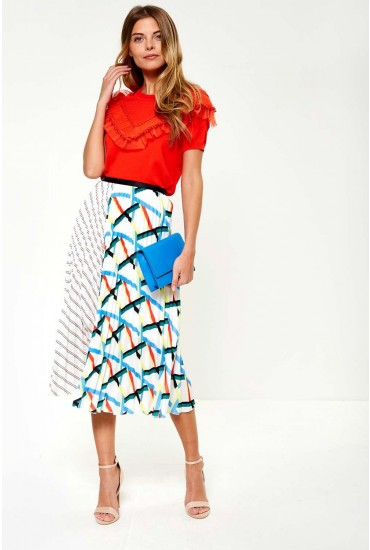 Greta Geo Contrast Pleat Skirt in White
