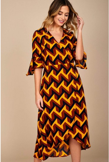 Sienna Geometric Print Midi Dress in Mustard