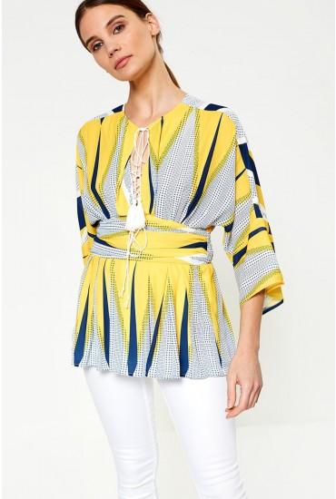 Donatella Geometric Waist Detail Top in Yellow