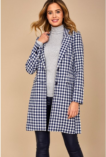 Caroline Gingham Jacket in Navy