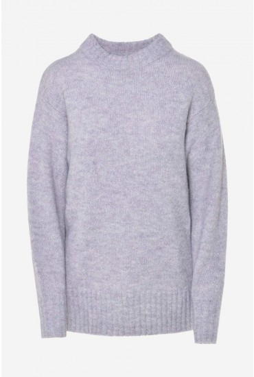 Abby Long Sleeve Glitter Knit in Grey