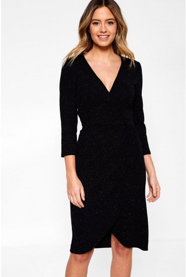 Carol Glitter Wrap Dress in Black