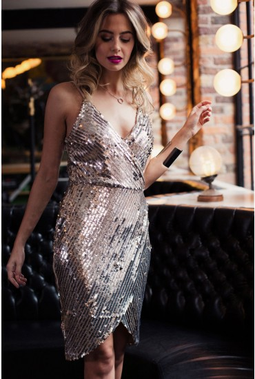 Grace Bodycon Sequin Dress in Silver