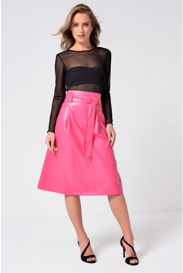 Naomi Belted Leather Look Skirt in Pink